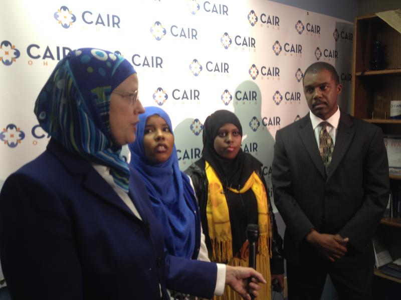 CAIR-Cincinnati Executive Director Karen Dabdoub, former DHL employees Najma Hassan and Shahira Abdullah, and CAIR-Cincinnati Staff Attorney Booker Washington speak with reporters about their case.