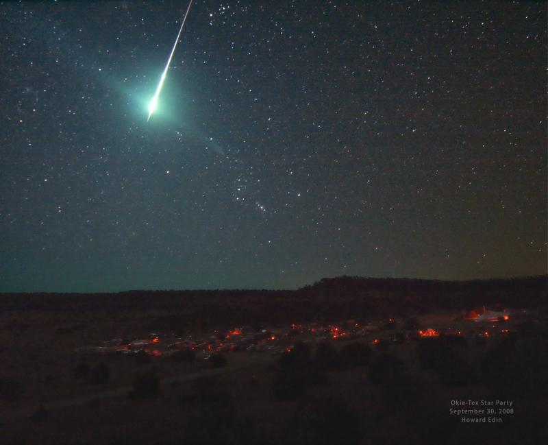 Meteorite in the night sky