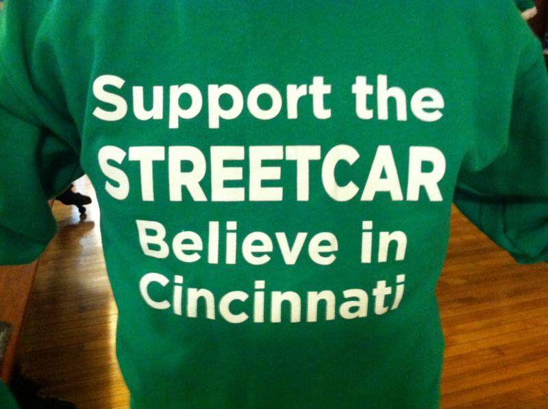 T-Shirt supporting Cincinnati streetcar project at public forum held in downtown Cincinnati Thursday evening.