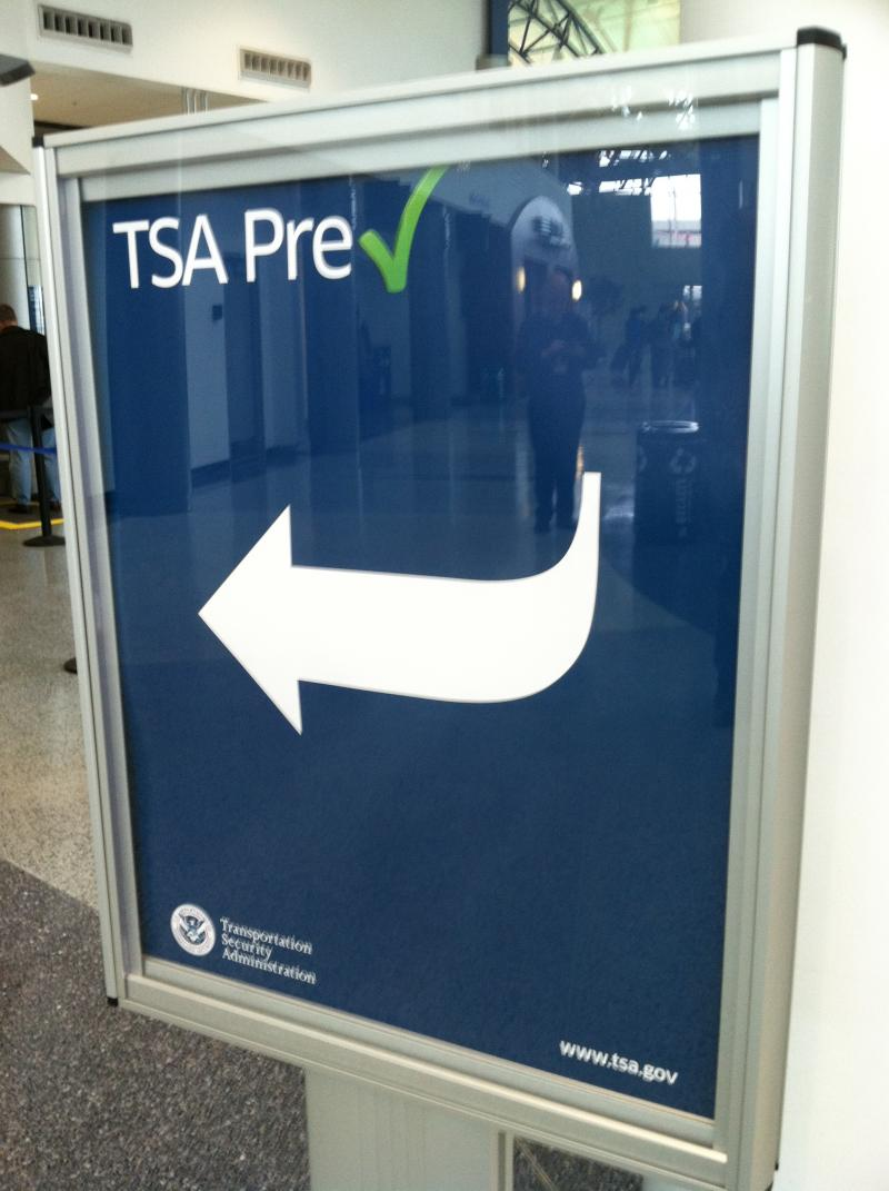 TSA Pre-Check sign at the Cincinnati/Northern Kentucky International Airport