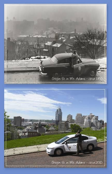 A clearer downtown view, 60 years ago and today