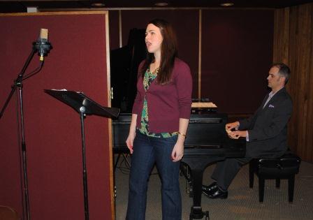 """Maria Valdes & Marcus Kuchle record """"Ave Maria"""" in the Cincinnati Public Radio Corbett Studio"""