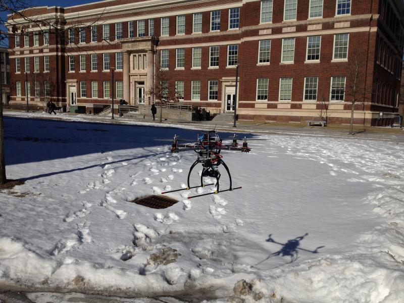 UC's UAV hovers on campus.