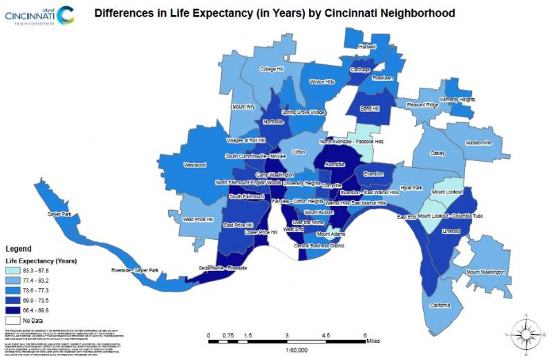 Life expectancy by neighborhood in Cincinnati