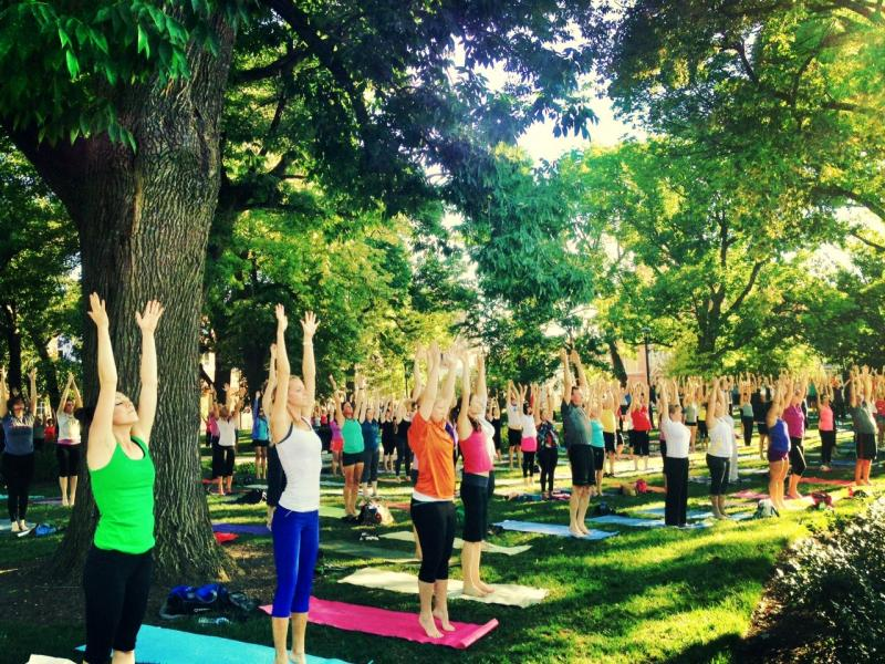 A yoga session at  Washinton Park this summer.