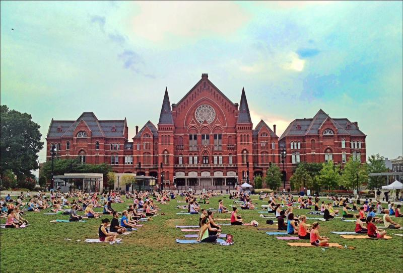 Hundreds joined in practicing yoga at Washington Park this summer.