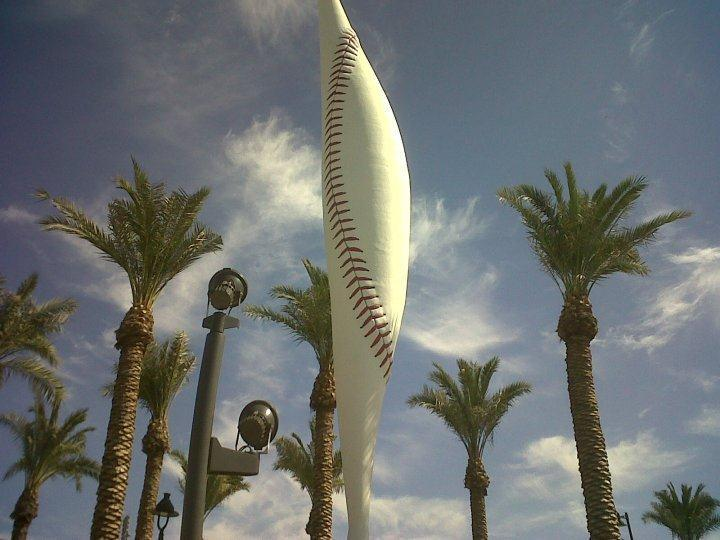 """The Ziz,"" a modern sculpture that sits outside the main gates of Goodyear Ball Park"