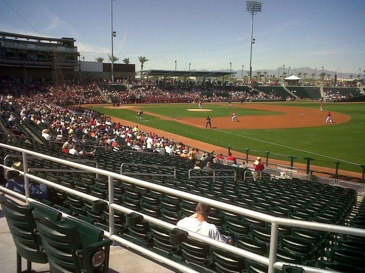 The first very pitch of the very first Reds spring training game at Goodyear, March 5, 2010