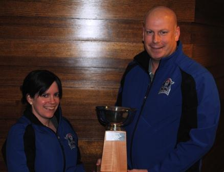 Cincinnati Curling Club members Stephanie Simpson and Jonathan Penney
