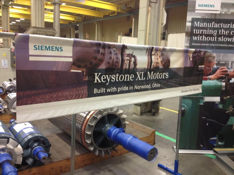 One of Siemens big contracts is to make motors for the Keystone Pipeline.