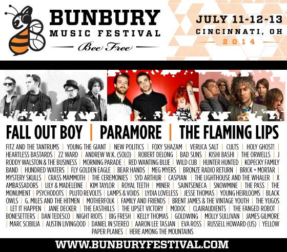 The 2014 Bunbury Music Festival is July 11-13 at Sawyer Point and Yeatman's Cove