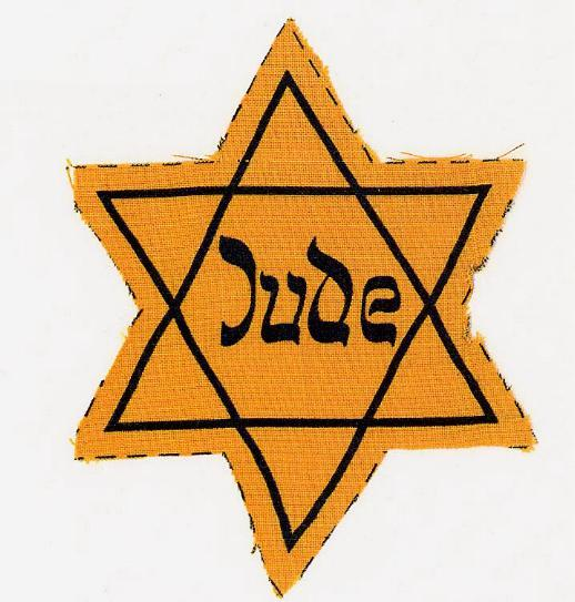 The Yellow Star ordered by the Nazis for Jews to wear.