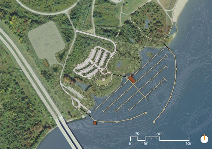 The new marina will be between St. Rt. 73 and the swimming beach.