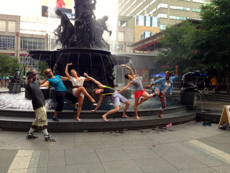 A surprise dance party on Fountain Square with Pones Inc.