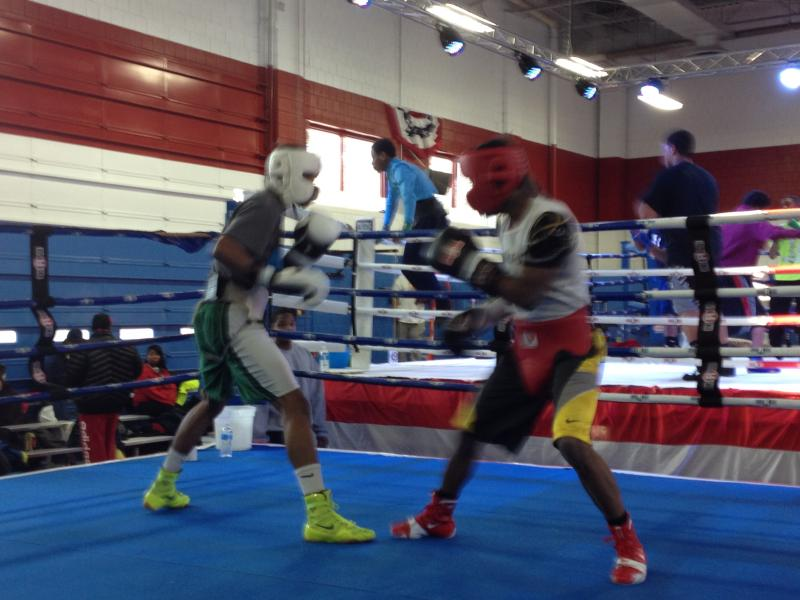 Professional boxer Rau'shee Warren (right) also trains at this center. (It was hard to get him to stand still.)