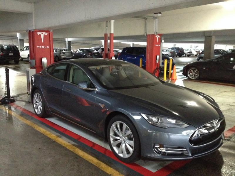 Tesla has a number of charging stations in the Kenwood Towne Center garage.