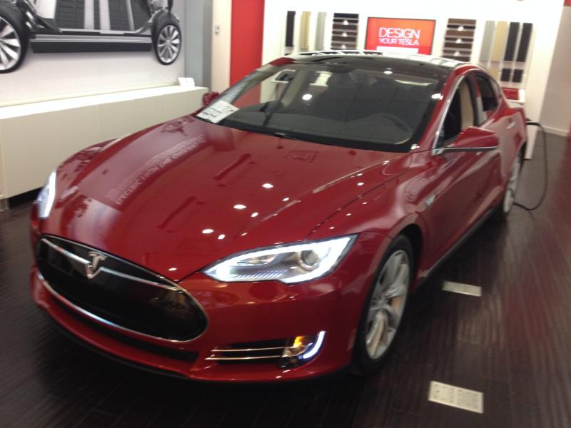 Tesla shows customers its car and then people can order it on the Internet.