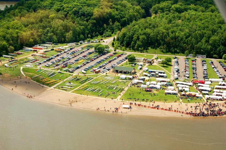 This is an aerial view from the 2010 Midwest Scholastic Championship regatta.  The regatta in the picture is about the same size and scope of the one coming in 2015.
