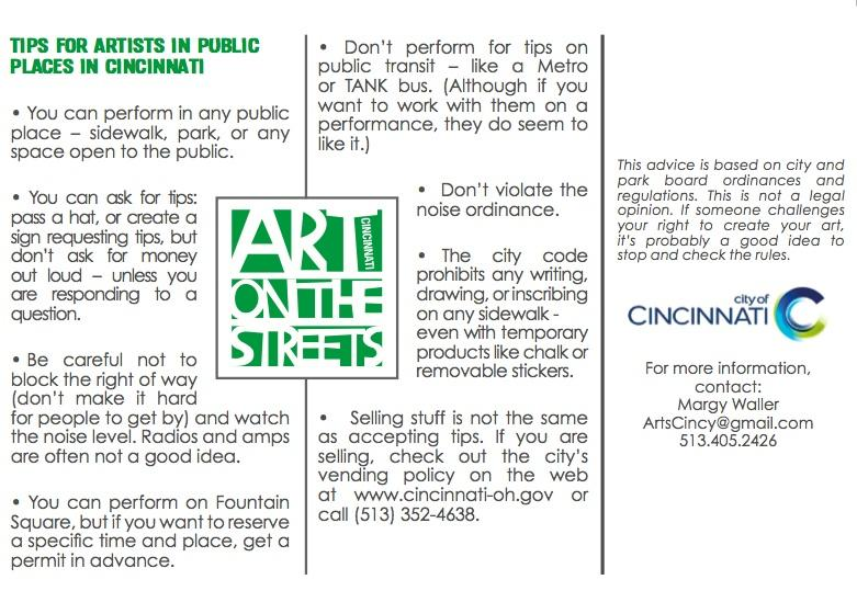 Art of the Streets' 'tips for artists' postcard