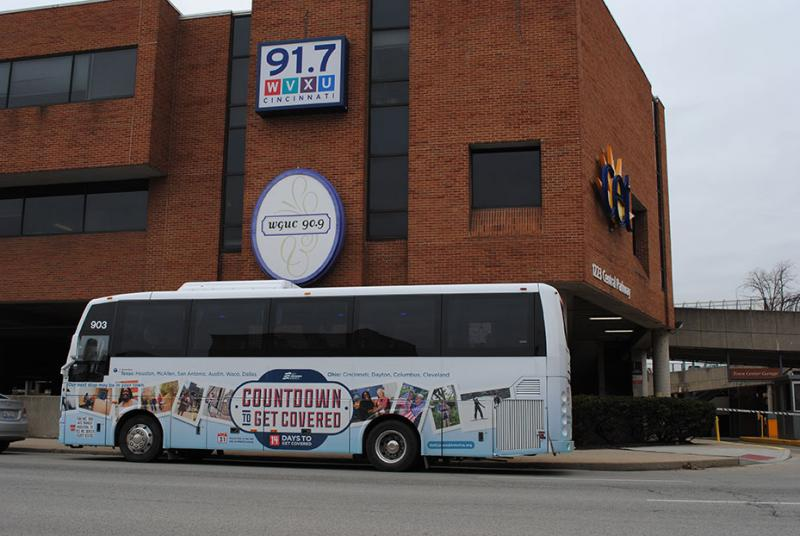 "The ""Countdown to Get Covered"" bus stopped at WVXU for Cincinnati Edition on Monday."
