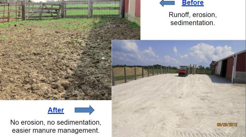 Before and after pics of a farm ORSANCO worked with that had a problem with nutrient runoff.