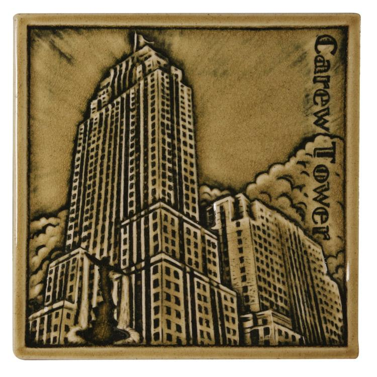 A Rookwood tile depicting Carew Tower, one Cincinnati landmark memorialized by another.
