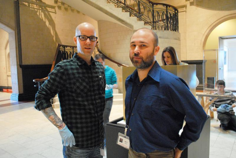 Artist Todd Pavlisko (left)  and CAM Curator Matt Distel.