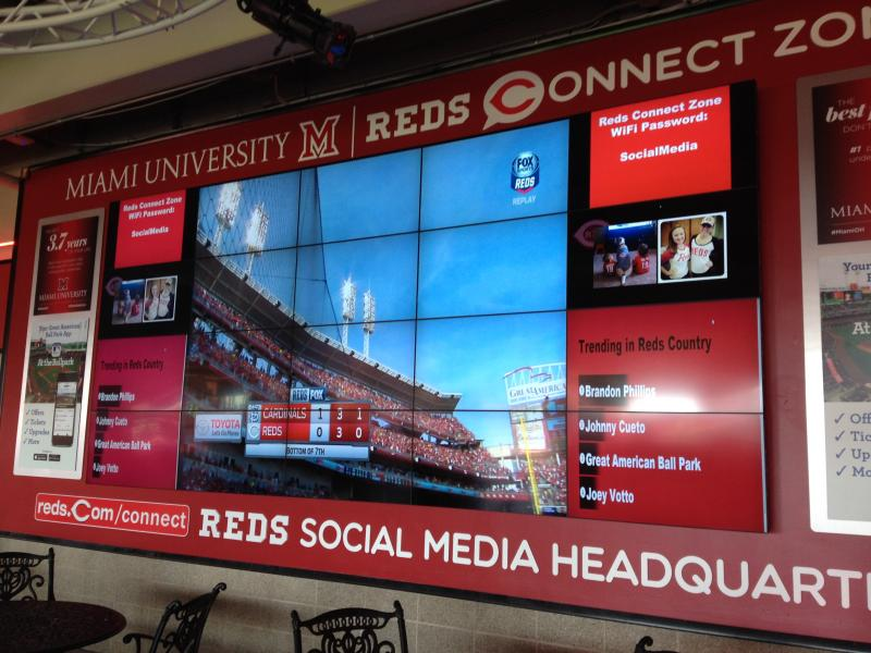 The new Reds Connect Zone is on the third base concourse behind section 110.