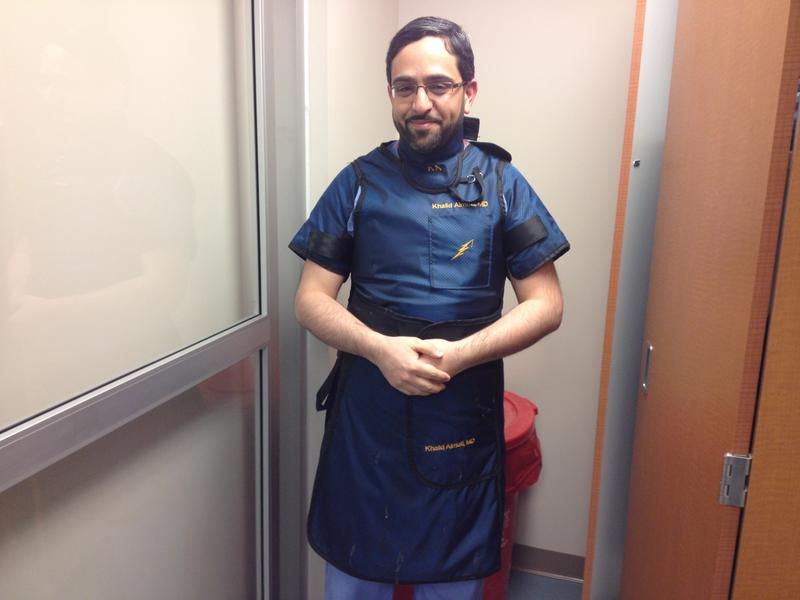 Dr. Khalid Almuti, a cardiologist at West Chester and UC Medical Center, no longer has to wear these heavy leaded vests because he is not using X-rays except in rare cases.