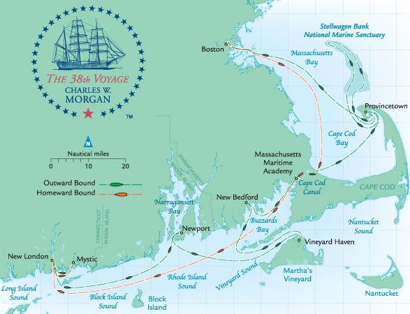 Planned route for the Charles W. Morgan's 38th voyage, her first in nearly 100 years.
