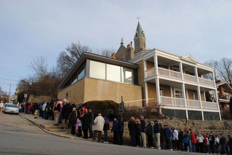 People wait in line to pray the steps on Good Friday 2013.