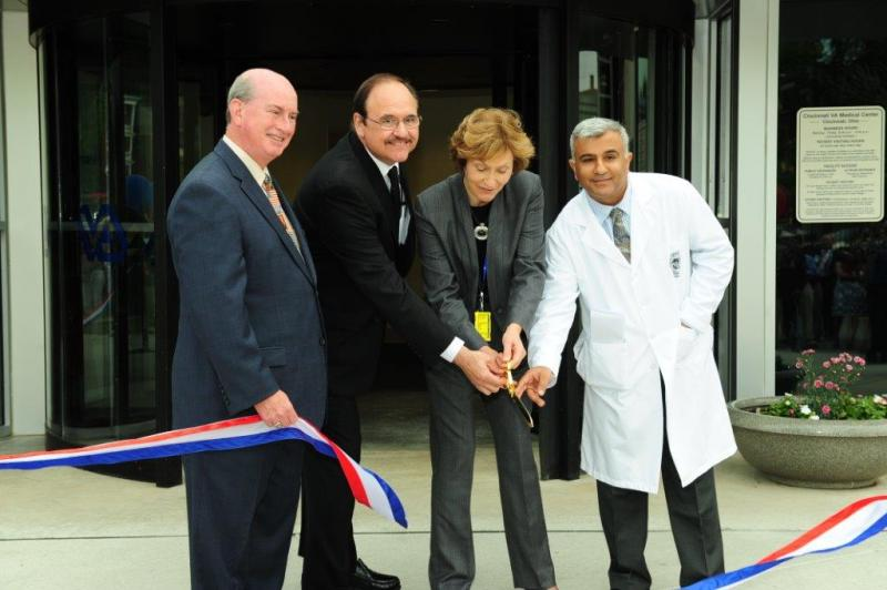 (from left) Clermont County Commissioner Bob Proud, VA Regional Director Jack Hetrick, Cincinnati VA Director Linda Smith, and head of radiology Dr. Ajay Malhotra cut the ribbon on an expanded radiology center.