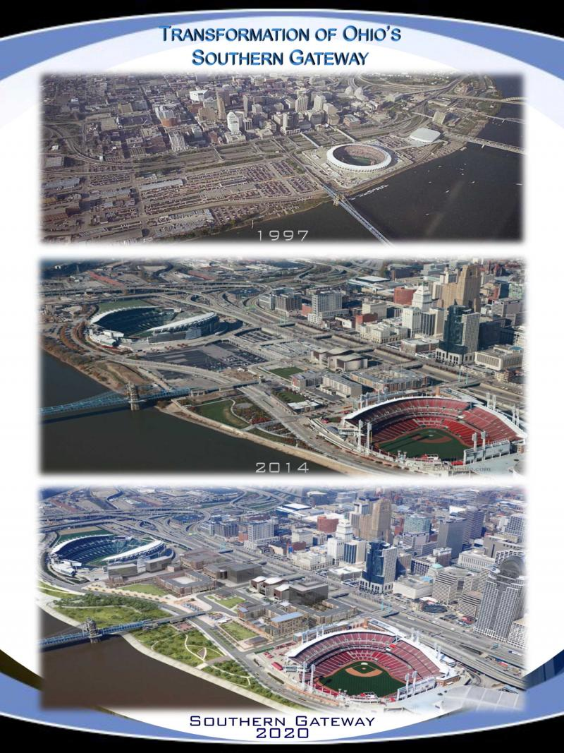 Cincinnati's riverfront and The Banks, 1997 to what it will look like in 2020..