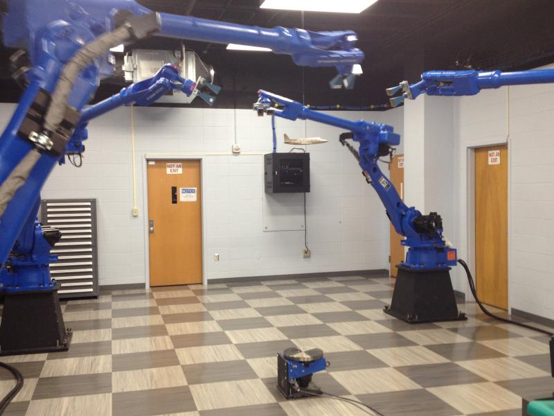 The lab showed off the four robotic arms by having them sync with classical music.