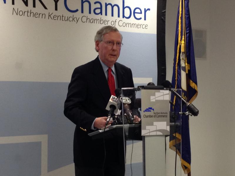 Sen. Mitch McConnell speaking at the Northern Kentucky Chamber of Commerce.