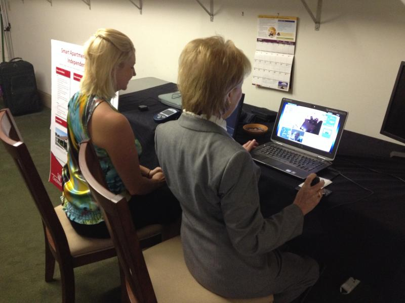 "(from left) Meghan Gresham and Dr. Debi Sampsel in the ""control room."""