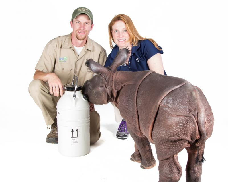 """Monica"" with with Dr. Monica Stoops and zookeeper Joe Hauser."