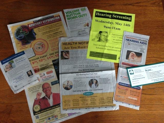 Media advertisements and direct mailings aimed at older adults promote hearing screenings.
