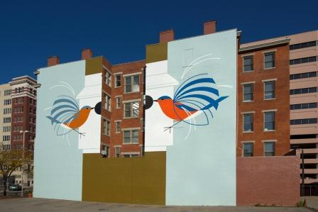 "This mural, at 119 East Court Steet, is based on Charley Harper's ""Homecoming (Bluebirds)."""