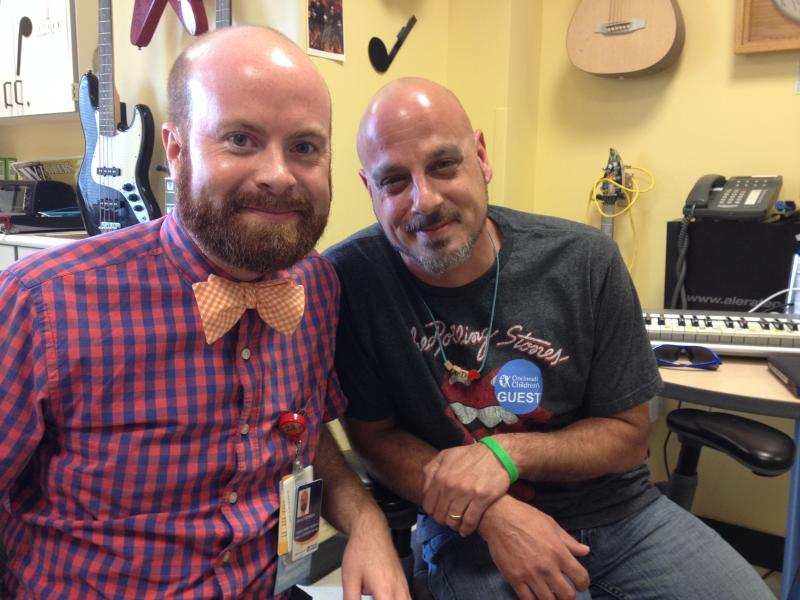 (from left) Music Therapist Brian Schreck and Jeremy Bennett whose son's dying heartbeat has been made into music.