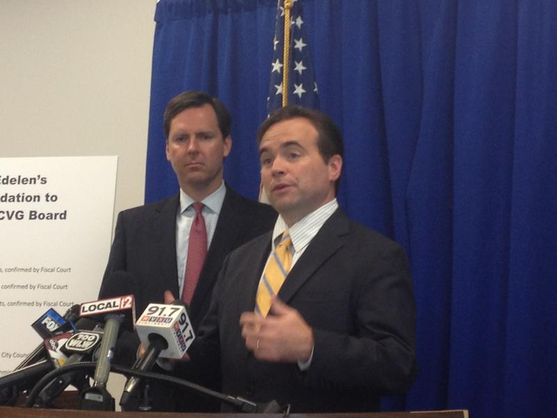 (from left) Kentucky Secretary of State Adam Edelen and Cincinnati Mayor John Cranley talk about the importance of regionalism on the new revamped airport board.