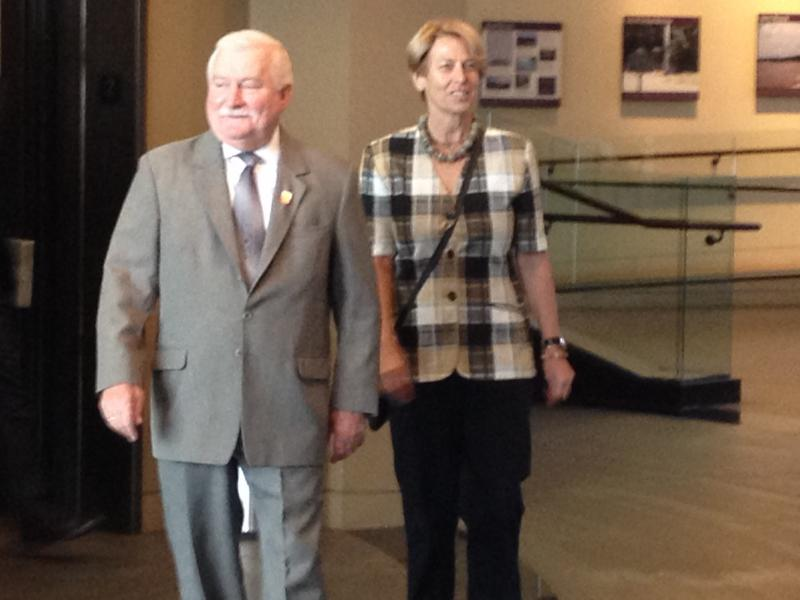 Former Polish president Lech Walesa is in Cincinnati to receive an award from the Freedom Center. (He is here with his interpreter)
