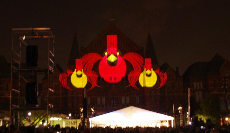 LumenoCity pays tribute to Charley Harper during the Friday performance. (A little blurry, but it's hard to photograph birds in flight.)