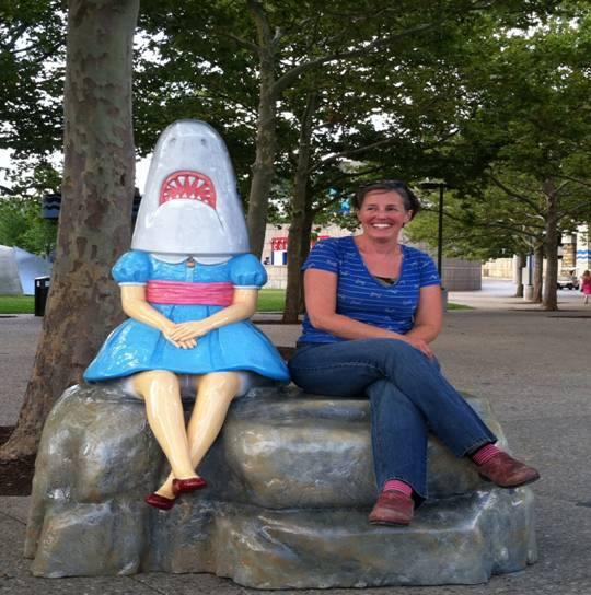 Shark Girl and her sculptor Casey Millard in Cincinnati in August, 2013.