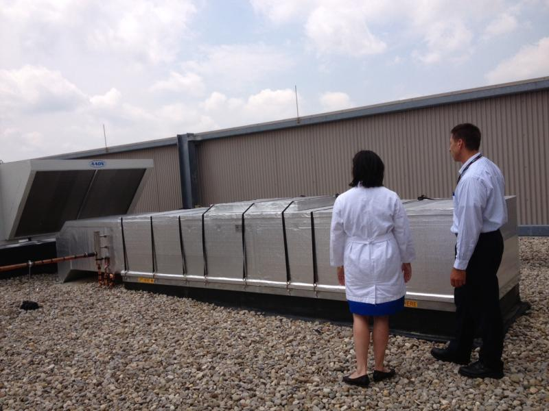 The new filtration system is on the roof of the Center for Reproductive Health.
