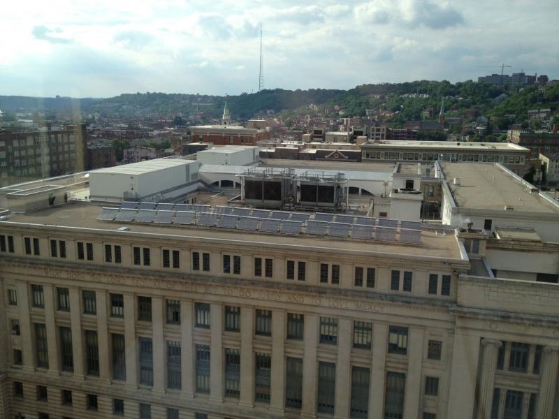There are 50 solar panels on top of the Hamilton County Courthouse.