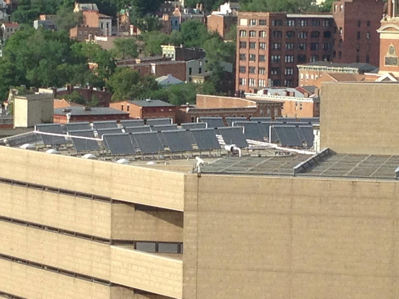 A new solar system was installed 8 months ago on the roof of the Justice Center.