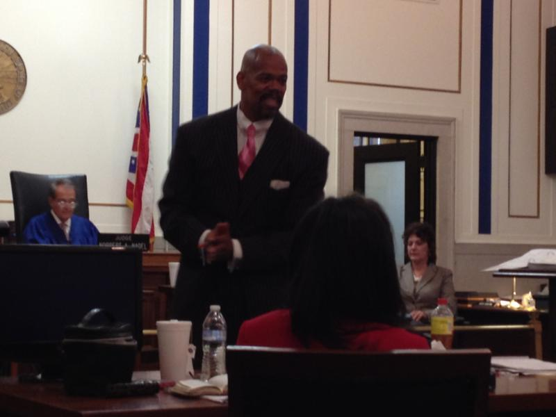 Defense attorney Clyde Bennett II makes his case in closing arguments.