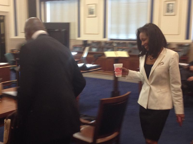 Defendant Judge Tracie Hunter returns to the courtroom after a break.