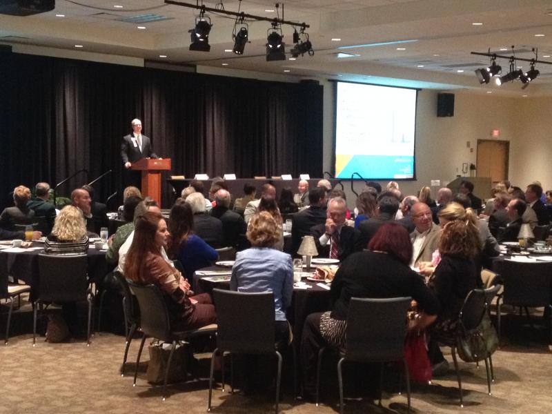 Northern Kentucky Chamber of Commerce and the Cincinnati USA Regional Chamber gather for the 2015 Regional Economic Outlook at the METS Center.